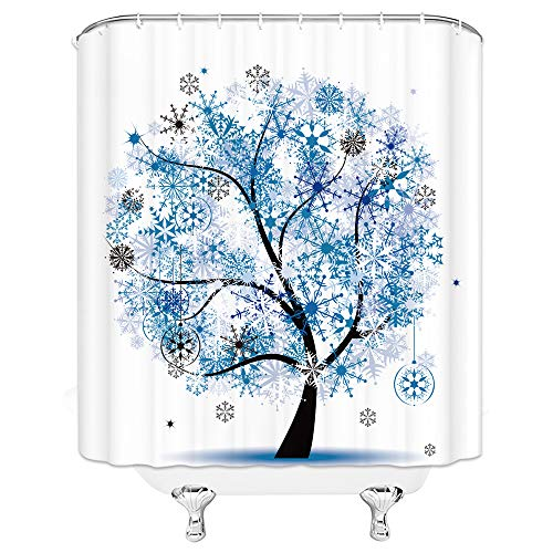 Feierman Christmas Shower Curtain New Year Decor Blue Snowflake Tree Bathroom Curtain Machine Washable Waterproof with Hooks 70x70Inches