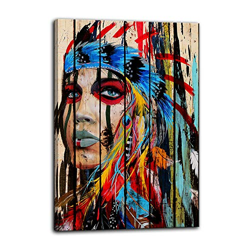Indian Girl Chief Native American Canvas Wall Art Feathered Women Prints Gifts Home Decor Decals for Bedroom Posters Pictures Paintings Framed Ready to Hang (16''Wx24''H, Artwork-05)