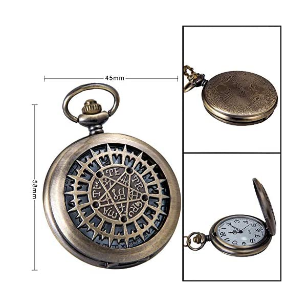 VIGOROSO Mens Pocket Watch Black Butler Antique Hollow Quartz Bronze Steampunk in Box