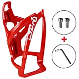 Pioneeryao Bike Water Bottle Cage Bicycle Water Bottle Holder Lightweight with Screws Hex Keys (Red)