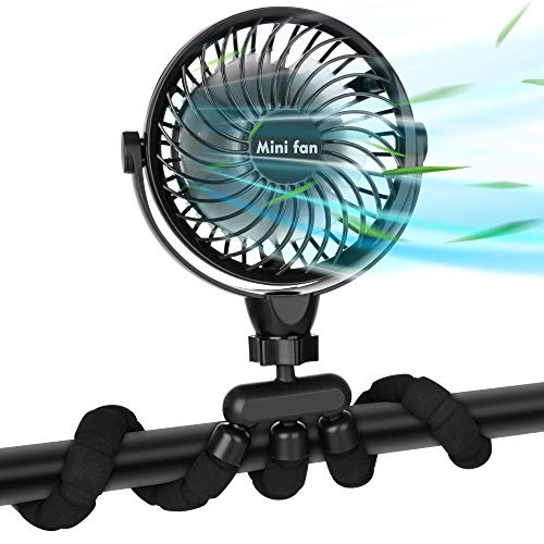 Stroller Fan, 2600mAh Battery Powered Personal Desk Air Circulator Fan with Flexible Tripod, Ultra Quiet 4 Speed 360° Rotatable USB Fan for Stroller Office Camping Hurricane Outage,Black