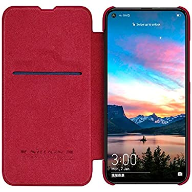 Nillkin Case for Huawei Honor View 20 / Honor V20 V 20 Qin Genuine Classic Leather Flip Folio + Card Slot Red Color
