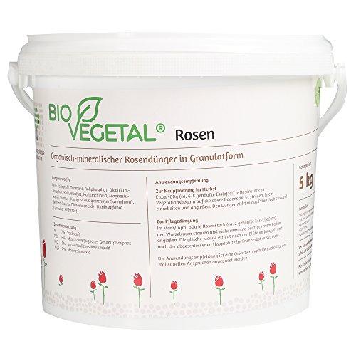 BioVegetal organisch-mineralischer Rosendünger mit Guano und natürlicher Langzeitwirkung durch Fixierung der Nährstoffe durch Ton-Humus-Komplex, 5 kg Eimer