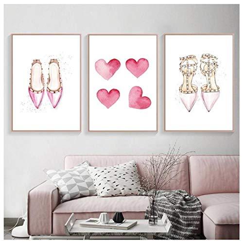 Dlfalg Mode Roze Twinkle Star Hoge Hakken Poster Hart Gevormde Muur Kunst Canvas Prints Schilderij Foto Meisje Kamer Decoratie- 40 * 60Cm*3 Niet ingelijst