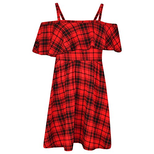 A2Z 4 Kids® Mädchen Skater Kleid Kinder Blumen Aufdruck - Off Shoulder Dress Tartan Red 9-10