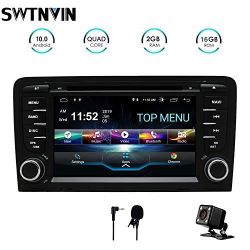 SWTNVIN - Autoradio stereo per auto Android 10.0 compatibile con lettore DVD Audi A3 da 7', touch screen HD, navigatore GPS con Bluetooth WiFi, controllo al volante, 2 GB + 16 GB