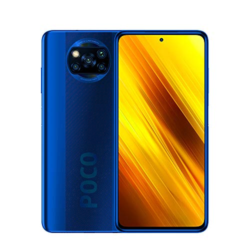"Xiaomi Poco X3 Smartphone,6GB RAM 128GB ROM Teléfono,6.67"" FHD DotDisplay Qualcomm Snapdragon 732G Octa-Core Procesador con NFC Cámara Cuádruple (64MP+13MP+2MP+2MP) Versión Global(Azul)"
