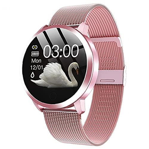 Relojes inteligentes Q8 impermeable de pulsera inteligente con la correa del metal de prueba del ritmo cardíaco del contador de paso del ciclo menstrual de la mujer rosada totalmente adaptado