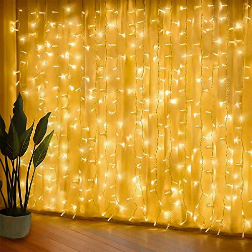 Urslif 300 luci per tende a LED, 3 x 3 m, 8 modalità, impermeabile IP44, casa, matrimonio, padiglione da giardino, decorazioni natalizie, luce dell'atmosfera per appuntamenti di San Valentino