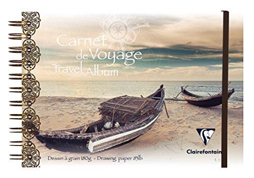 Clairefontaine 96104C Reisealbum (DIN A5, 14,8 x 21 cm, 180 g, 30 Blatt, mit Doppelspiralbindung, Gummizug, ideal für alle Globetrotter unter den Künstlern, mit Strandhaus Design) weiß