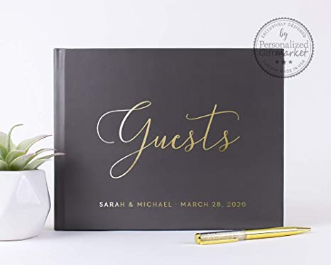 Wedding guestbook personalized with names established date
