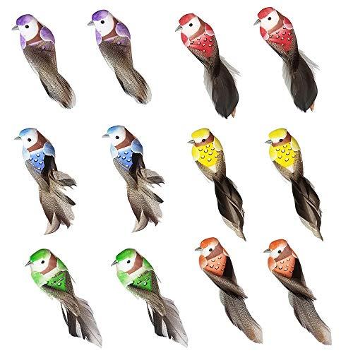 FJROnline Lot de 12 petits oiseaux en plumes artificielles colorées avec fil métallique pour la décoration de plantes de jardin