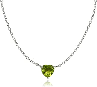 Ice Gems Sterling Silver Small Dainty Heart Genuine, Simulated Gemstone or Cubic Zirconia Choker Necklace