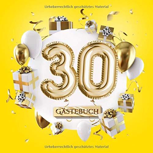 30 Gästebuch: Gelbe Deko zum 30.Geburtstag für Mann oder Frau - 30 Jahre Geschenk - Partydeko Gelb...
