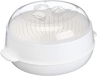 Round Microwave Steamer Heating Steamer Heat-resisting Range -4 °F to 40.5 °F Diameter 8.4 Inch Height 4.6 Inch White