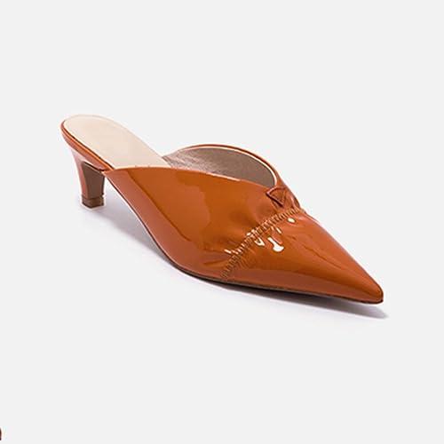 JIANXIN Chat Pointu avec des des Mules Chaussures Femmes Portent des Pantoufles en Cuir Sandales D'été (Couleur   Orange, Taille   EU 35 US 5 UK 3 JP 22.5cm)  produit de qualité