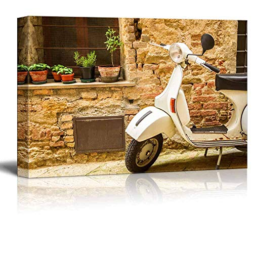 "Gogobebe Canvas Wall Art Print Paintings - Vintage Scene with Vespa on Old Street Stretched and Framed Ready to Hang - 12"" x 20"""