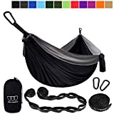 Gold Armour Camping Hammock - Extra Large Double Parachute Hammock (2 Tree Straps 16 Loops,10 ft Included) USA Brand Lightweight Nylon Mens Womens Kids, Camping Accessories Gear (Black/Gray)