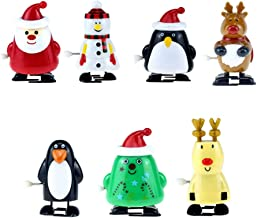 CLISPEED 7pcs Christmas Wind Up Toys Assortment Clockwork Toys Christmas Stocking Fillers Xmas Party Favors Gifts Snoman R...