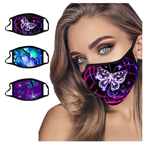 3pc Changeshopping Fashion Butterfly Print Mouth Cover, Breathable Anti Dust Sand Face Cover, Suitable Cycling Running
