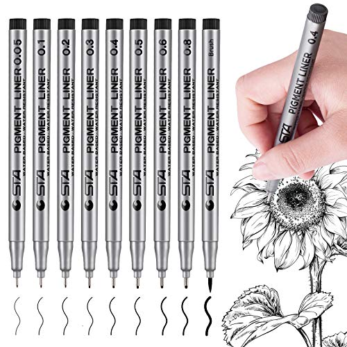 Precision Micro-Line Pens, Black Fineliner Ink Pens, Waterproof Archival Ink Drawing Pens, for Artist Illustration, Sketching, Technical Drawing, Manga, Office Documents and Scrapbooking(9 Size/Black)