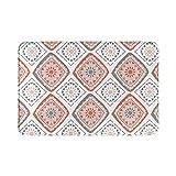 Alfombra de baño para el hogar, geométrica, rosa, verde, abstracta, nórdico, otoño, bohemio, alfombra de ducha de 15.7 x 23.6 pulgadas