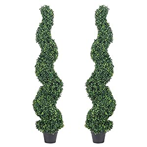 THE BLOOM TIMES 5ft Spiral Boxwood Topiary Trees Artificial Outdoor Faux Potted Plants UV Protected Fake Indoor Plants in Pots for Home Office Front Porch Decor Set of 2