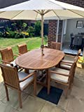 Kingsley Smythe Teak Garden Patio Round 6 Seater Single Extending Set with Stacking Chairs Free Cushions and Parasol