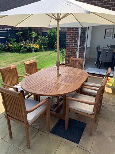 Kingsley Smythe - Juego de 6 plazas para jardín con sillas apilables, cojines y sombrilla