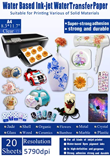 20 Sheets Decal Paper INKJET CLEAR Premium Water Transfer Transparent...