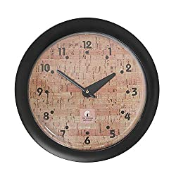 "Chicago Lighthouse 14"" Traditional Cork Wall Clock, Black, Quiet"