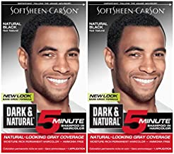 Hair Color for Men by SoftSheen Carson Dark and Natural, 5 Minutes, Natural Looking Gray Coverage for up to 6 weeks, Shampoo-in Permanent Hair Dye, Natural Black, Ammonia Free, 2 Count
