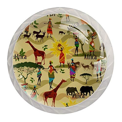 Tiradores étnicos africanos de jirafa para gabinete de cocina, dormitorio, aparador, puerta de muebles de baño (4 unidades)