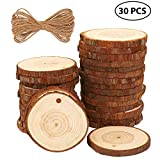 Fuyit Natural Wood Slices 30 Pcs 2.4-2.8 Inches Craft Wood kit Unfinished Predrilled with Hole Wooden Circles Great for Arts and Crafts Christmas Ornaments DIY Crafts