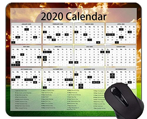 Calendar for 2020 Years Gaming Mouse Pad Custom,Sunset Grassland Themed Mouse Pad with Stitched Edge