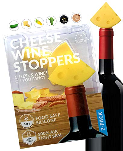 Hawwwy Funny Cheese Wine Stopper + Gift Box'Cheese & Wine? Oh You...
