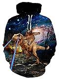 TUONROAD Felpe Uomo Divertenti Dinosauro 3D Hoodie Pullover Inverno Vello Sweatshirt con Tasche Felpe con Cappuccio XXL