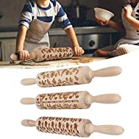 ベーキング用木製麺棒、クリスマスエンボス麺棒クッキー用生地ローラービスケットベーキングキッチンツールベーキングフェスティバルのテーマペストリーとクッキー(#2)