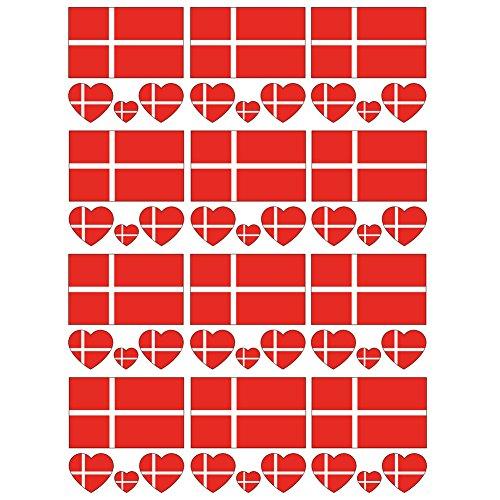 SpringPear 12x Temporär Tattoo von Flagge Dänemarks für Internationale Wettbewerbe Olympischen Spiele Weltmeisterschaft Wasserfeste Fahnen Tätowierung Flaggenaufkleber WM Fan Set (12 Pcs)