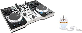 (Renewed) HERCULES INSTINCT S PARTY PACK ultra-mobile USB DJ Controller with Audio Outputs for use with your Headphones and your Speakers + Stand-alone 3-watt USB rotary RGB LED light