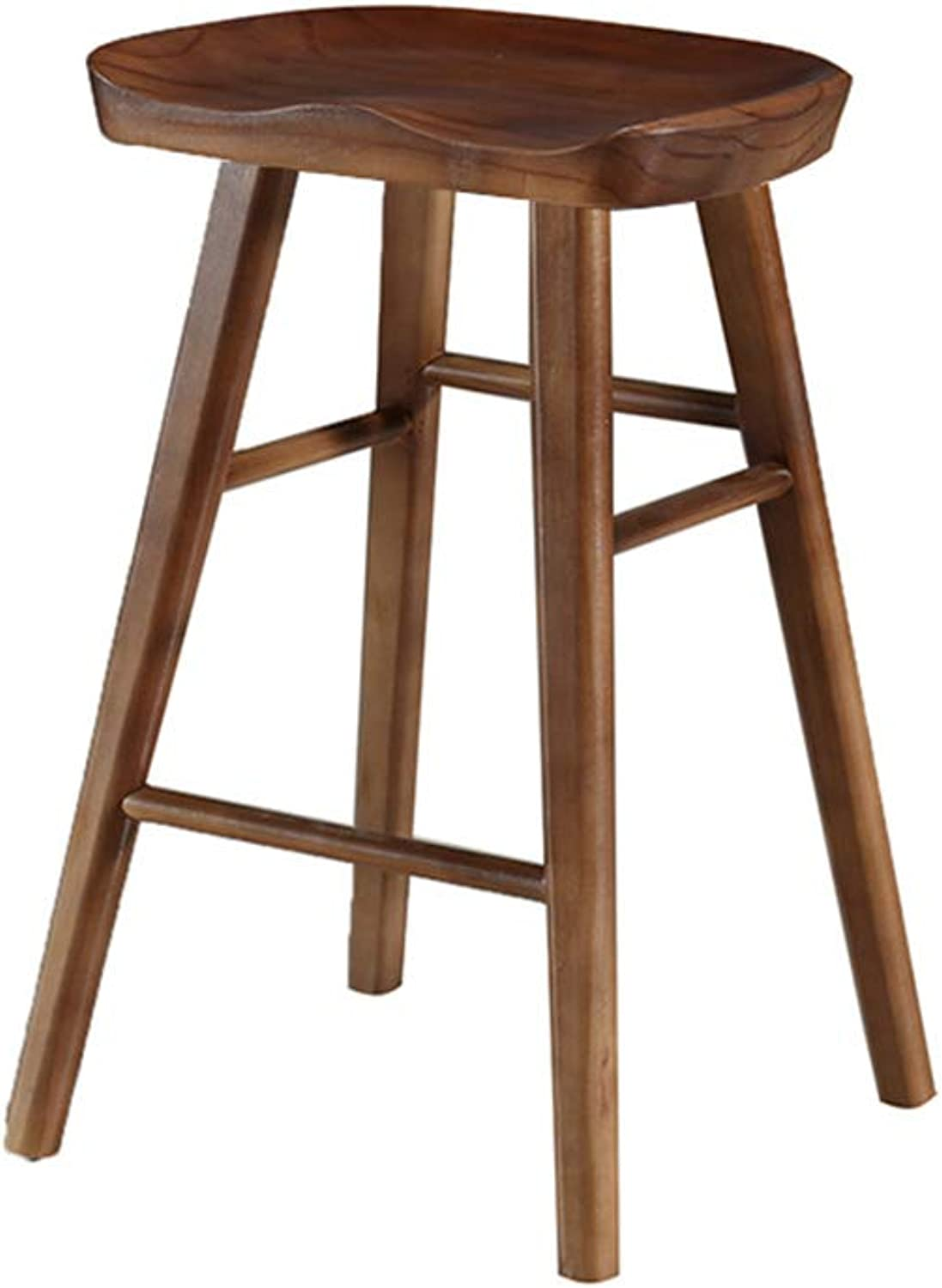Bar Stool Modern Minimalist Bar Chair, Solid Wood Creative High Stools Suitable for Home Restaurant Cafe Front Desk (color   Dark Brown H 55cm)