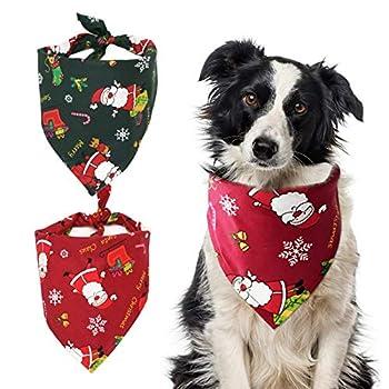 Bandanas de Chien de Noël,Bandanas de Noël pour Chien,Bandana Chien Écharpe,Foulard Triangle pour Chien,Convient aux Cadeaux de Noël pour Chats et Chiens,2 Pièces