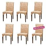 Rotin Design Rebajas : -51% Lote 6 sillas de ratán (kubu) Modernas y Baratas para Comedor Vitor