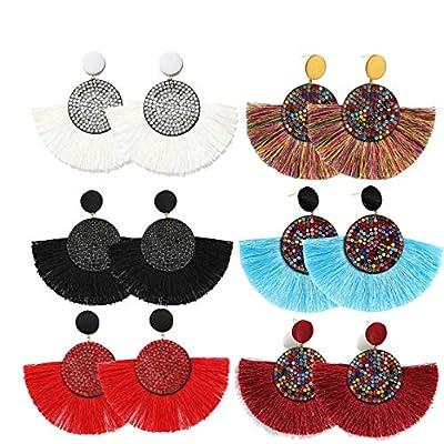 COMMINY 6 Pairs Colorful Statement Tassel Earrings,Handmade Bohemian Hanging Fringe Dangle Earrings for Women Girls …