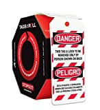Accuform 100 Lockout Tags by-The-Roll, Bilingual Danger This Tag & Lock to be Removed Only by Person Shown on Back, US Made OSHA Compliant Tags, Tear & Water Resistant PF-Cardstock, 6.25'x 3', TAR484