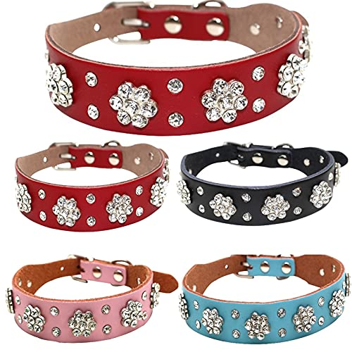 JMSL Collar para Mascotas-Collar de Perro de Flor de Ciruelo con Diamantes de imitación-Cadena de Perro de Piel de Vaca Collar de Gato-Ajustable Personalizado 27-38cm (5 Piezas),Rojo,M