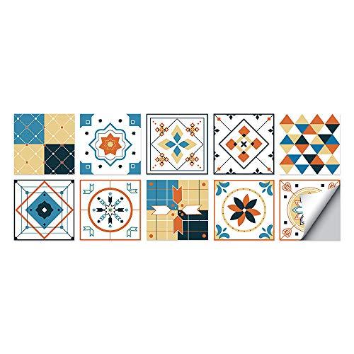 Geometría de color Azulejos Adhesivos Cocina e Baño Pegatinas de Baldosas Vinilos decorativo de Muebles Vinilos pared Baño Cocina Azulejos,10 Piezas -20x20cm
