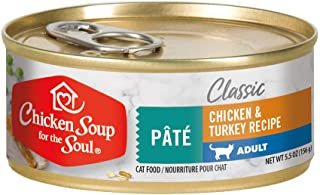 Chicken Soup for the Soul Adult Cat Food, Chicken & Turkey Pate, 5.5 oz. Cans (Case of 24)   Soy Free, Corn Free, Wheat Fr...