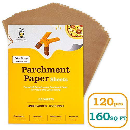 Katbite Heavy Duty Unbleached Parchment Paper Sheets-120, 12x16 Inch Parchment Sheets, Uses for Baking Cookies, Cooking, Air Fryer, Grilling