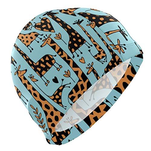 Bonnet de Bain, Swim Caps Cute Funny Cartoon Animal Forest Giraffe Deer Heart Hipster Swimming Cap Hat Waterproof Bathing Shower Hair Cover for Adult Men Women Youth Girls Boys